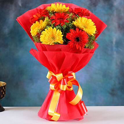 Glorious Red Yellow Gerbera Blossoms:Send Gifts for Ugadi