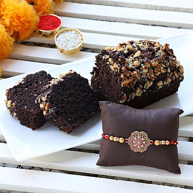 gluten free choco banana dry cake & designer rakhi online