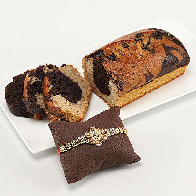 gluten free marble dry cake & designer rakhi online