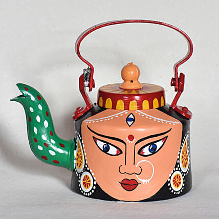 Goddess Durga Handpainted Kettle:New Arrival Gifts Collection