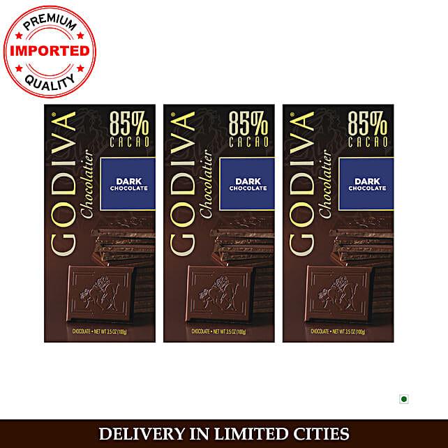 Godiva Dark 85 Chocolate Bar Pack Of 3
