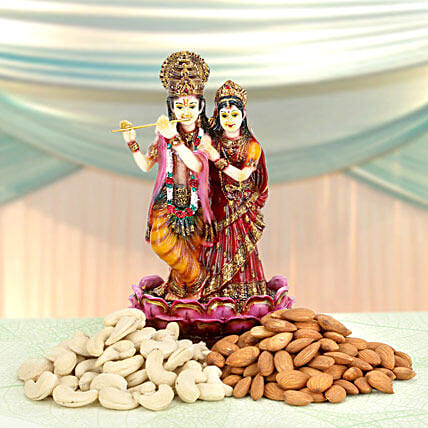 Godly Affection-Radha Krishan 8 inches,Almonds 100gms,Cashewsnuts 100gms