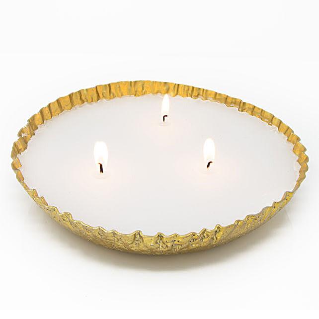 Gold Benaras Urli Style Candle