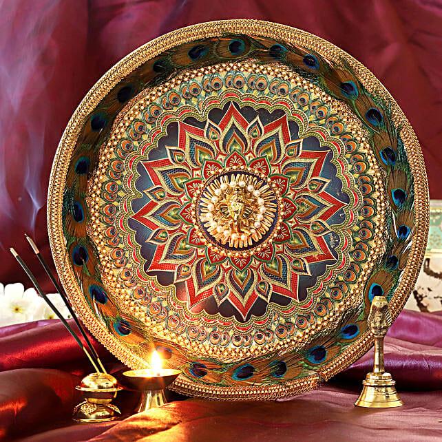 Gold Foil Pooja Thali Set:Send Pooja Thali to Chennai