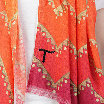 Online Gold and Orange Customised Scarf