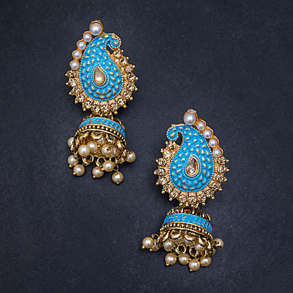 blue colour peacock design earrings online