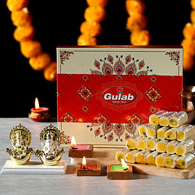 God Laxmi Idol and Sweets for Diwali