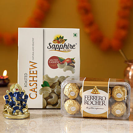 chocolate and dry fruit with idol hamper for diwali