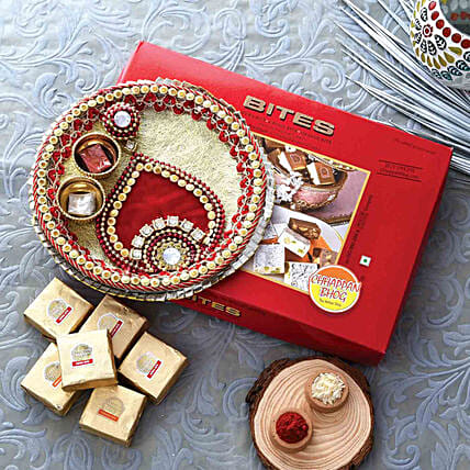 Gold & Red Pooja Thali With Mewa Bite Combo:Pooja Thali