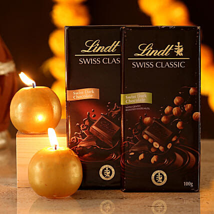 dark chocolate with diwali décor candle online