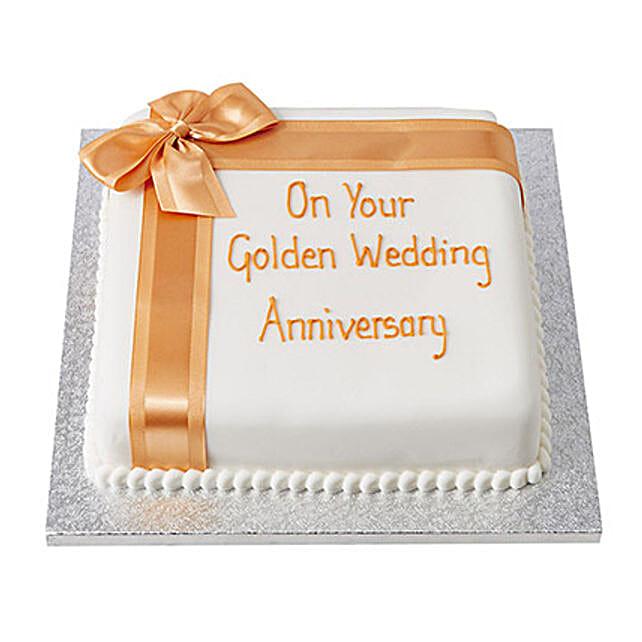 Golden Anniversary celebration Cake 2kg:50Th Anniversary Cakes