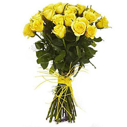 Golden Glow - Hand bunch of 30 long stem yellow roses with raffia knot.