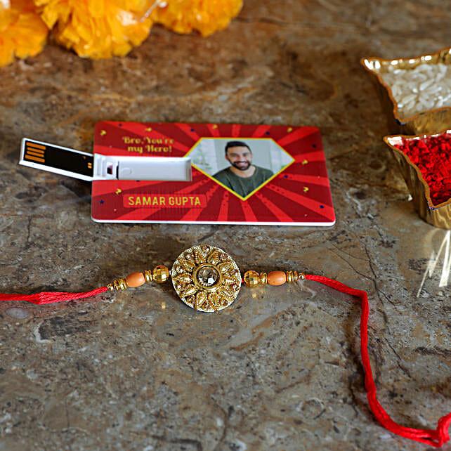 golden rakhi with personalised pen drive