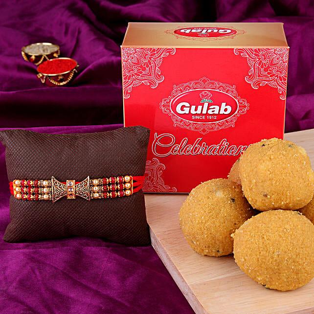 Golden Stone Rakhi Combo