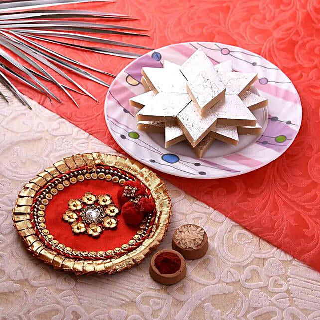 Gorgeous Red Pooja Thali With Kaju Barfi Combo:Pooja Thali