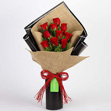Bunch Of Red Roses in Jute Wrap Online