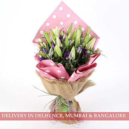 lisianthus with lilly bouquet online