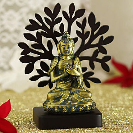 Graceful Namaste Buddha Idol Under A Tree