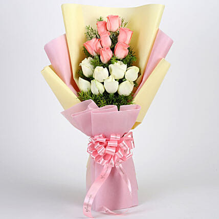 Pink and White Roses Online:Womens Day Flowers