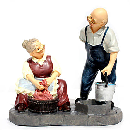 Grandparents Helping Each Other Figurine