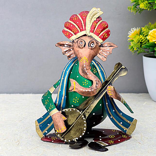 Green Metal Ganesha Playing Sitar Showpiece