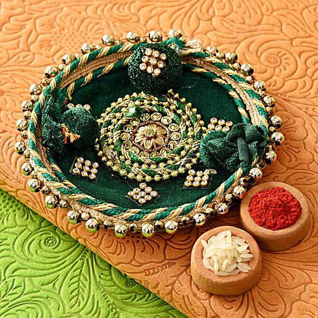 Green Velvet Floral Bhaidooj Pooja Thali
