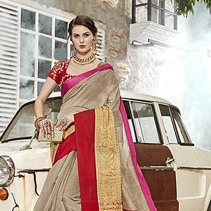 Women's Grey Colour Art Silk Saree