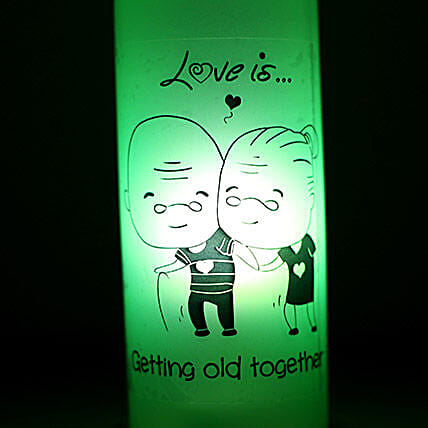 Growing Old Together Lamp-1 growing old together green coloured lamp:Send Led Bottle Lamp