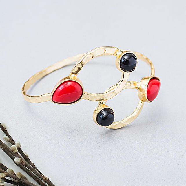 GT n Red Stone Studded Bracelet