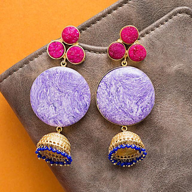 GT N Blue Geometric Earrings 2
