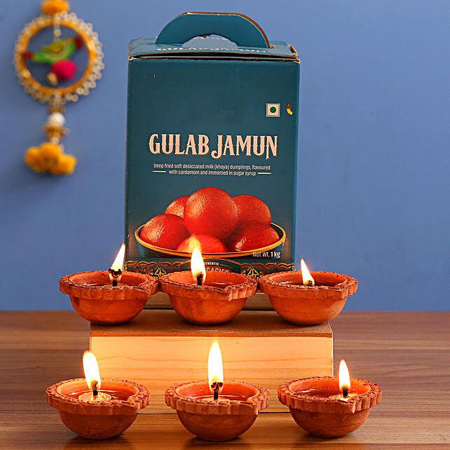 Gulab Jamun & 6 Clay Diyas Combo