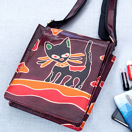 Hand Painted Genuine Leather Sling Bag