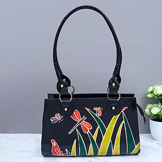 Hand Painted Fine Leather Handbag Burgundy