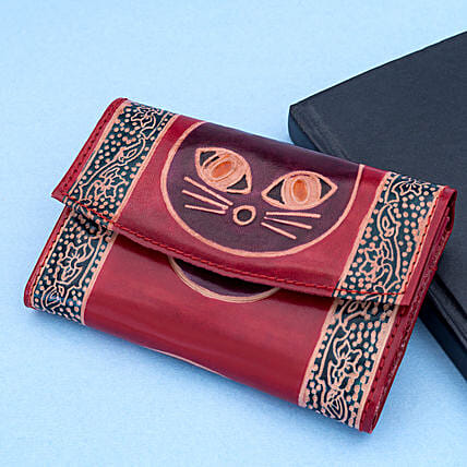 Hand Painted Women s Leather Wallet Burgundy