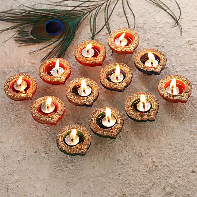 Golden Set of Diwali Diyas Online