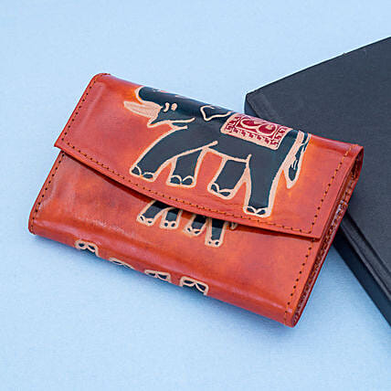 Hand Painted Women s Leather Wallet Red