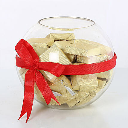 Handmade Chocolates wrapped with red ribbon chocolates choclates:Send Gifts for Lohri