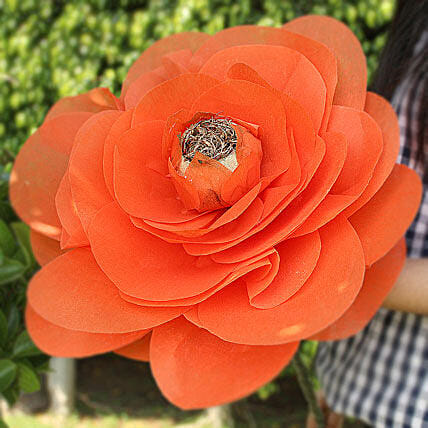 Handmade Floral Beauty-An orange coloured handmade paper flower:Handicraft Gifts for Mothers Day