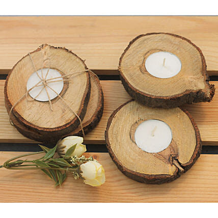 Wooden Bark Candles Gift