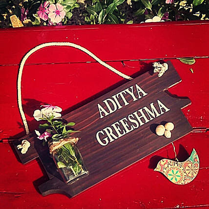 Wooden Name Plate for Home