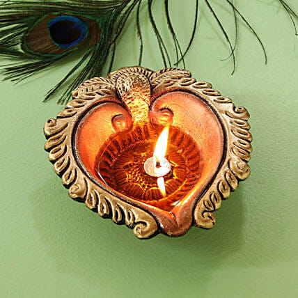 Handpainted Antique Classic Oil Diya:Send Diwali Gifts to Mumbai