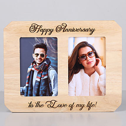 One Personalised Wooden photo frame for couple:Send Personalised Photo Frames for Husband