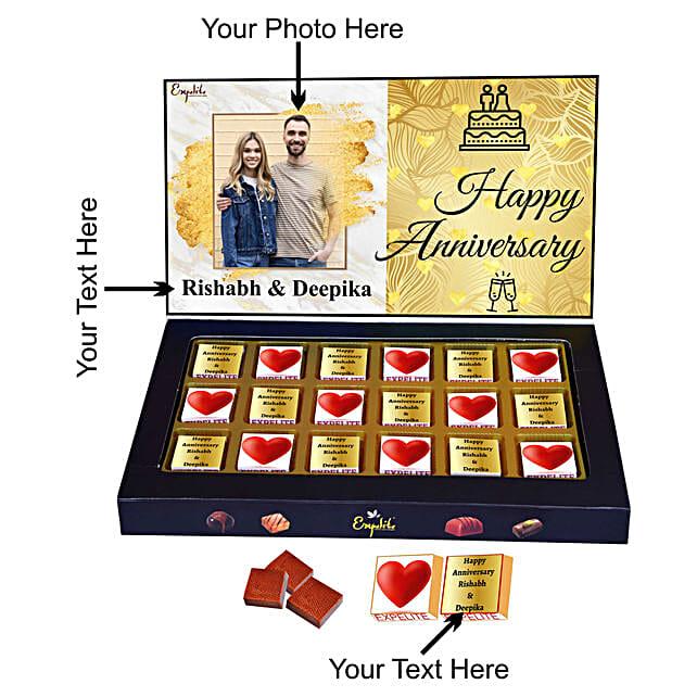 Online Happy Anniversary Personalised Chocolate