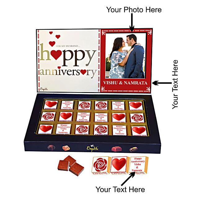 Send Happy Anniversary Personalised Chocolate:Personalised Chocolates for Anniversary