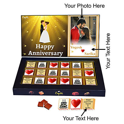 Order Happy Anniversary Personalised Chocolate Gift:Personalised Chocolates for Wife