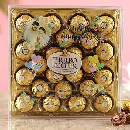 Happy Anniversary Personalised Ferrero Rocher Box:Customised Chocolates