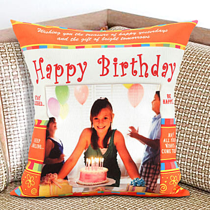An Eternal Delight-Personalized Cushion 12x12 inches Orange and White Color:Gift Delivery in Prakasam