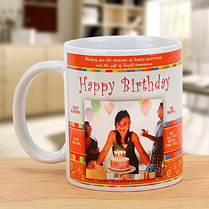 Cheers On the Birthday-Personalized Mug,White And Orange Color:Personalised Mugs Pune
