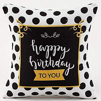 Happy Birthday Cushion-12X12 inches white Cushion with message,Happy Birthday