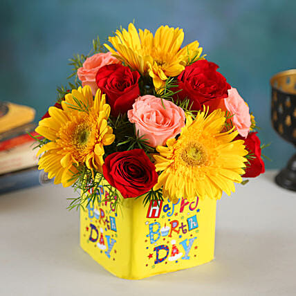 Happy Birthday Floral Beauty Arrangement:Birthday Flowers